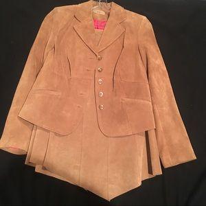 i.e. Tan Suede Blazer and Skirt